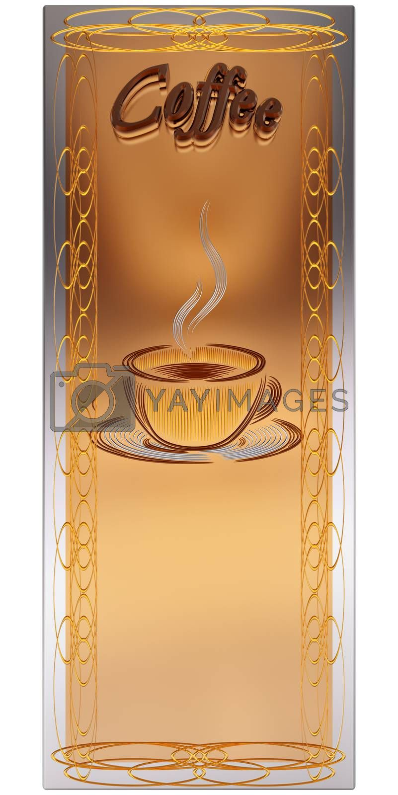 3d design template menu with cup of hot drink for restaurant, cafe, bar, coffeehouse, coffee shop brochure or banner