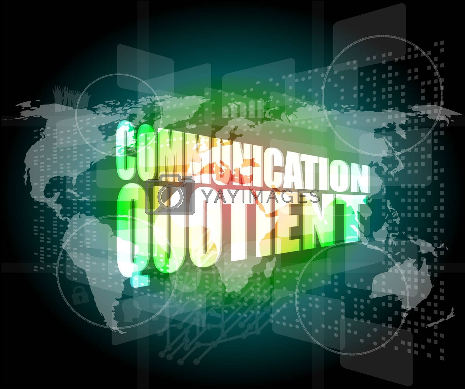 communication quotient word on business digital touch screen