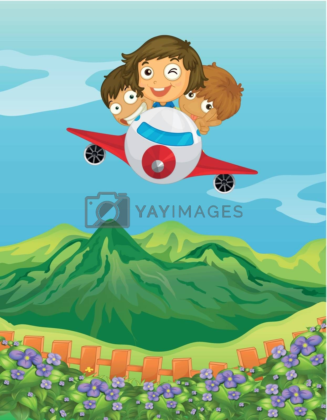 Illustration of kids and an airplane in a beautiful nature