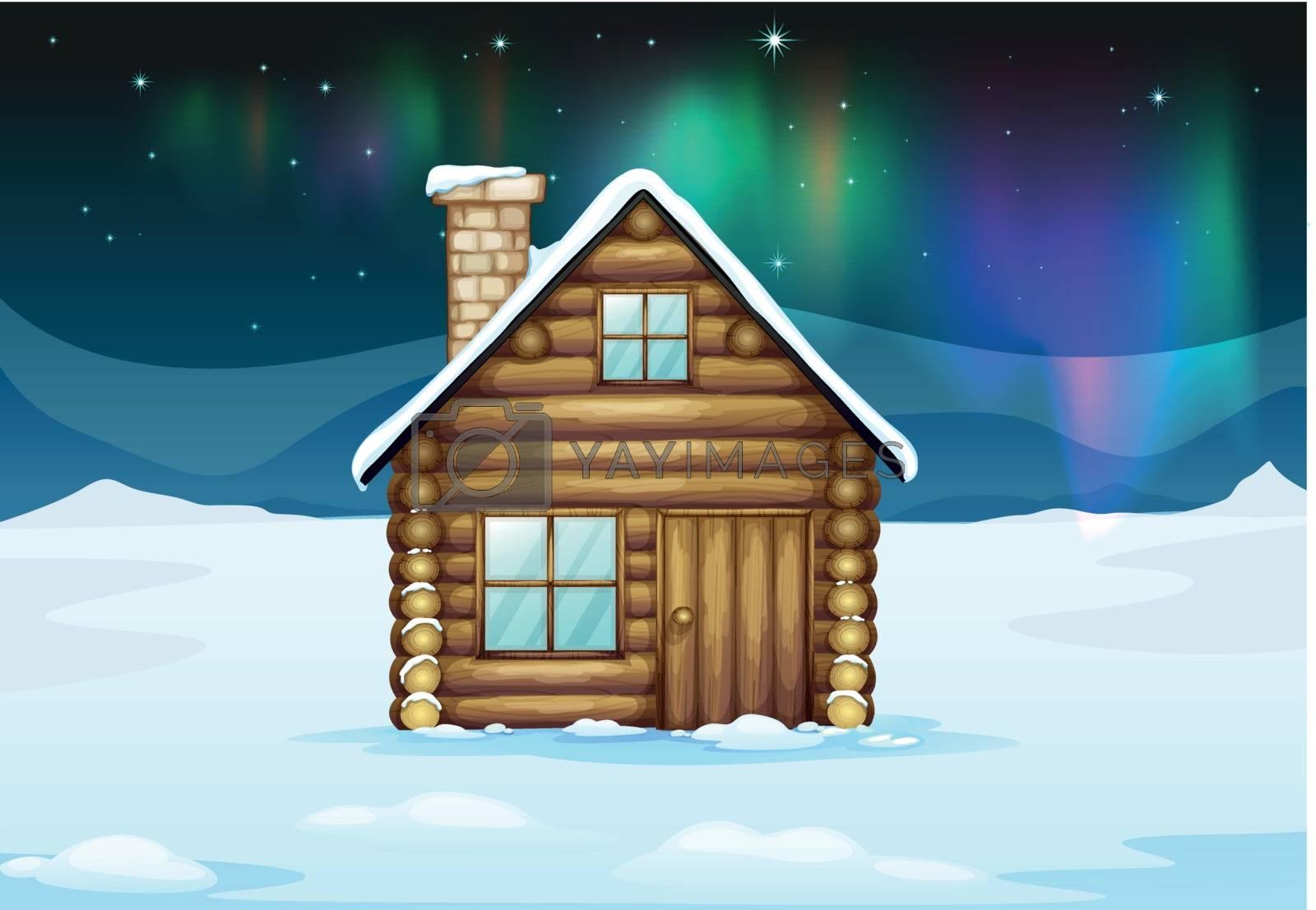 illustration ofa  house in a beautiful nature