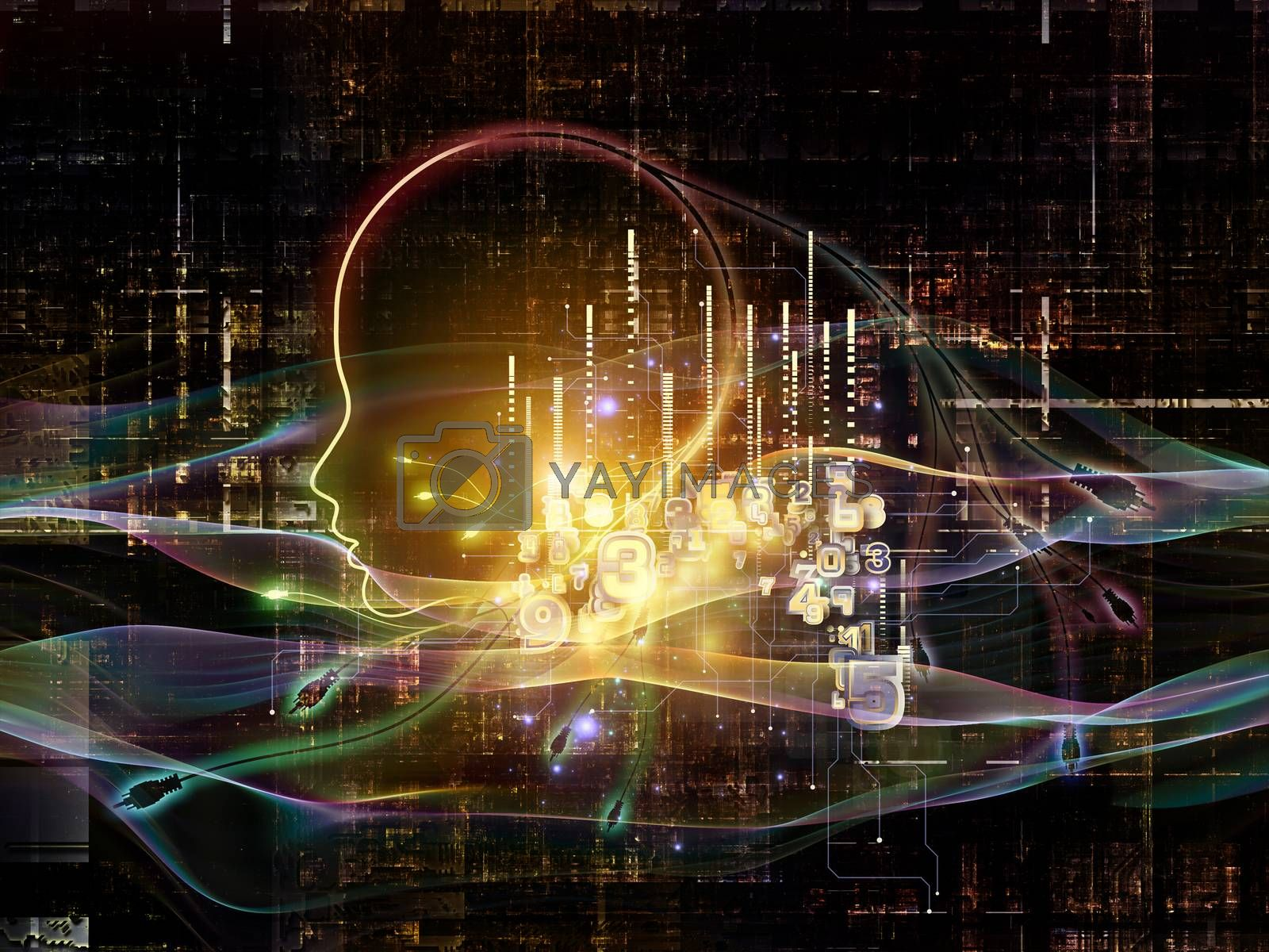 Artificial Intelligence series. Design composed of human profile and numbers as a metaphor on the subject of thinking, logic, computers and future technology