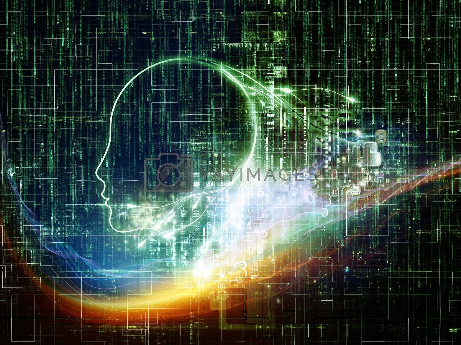 Artificial Intelligence series. Background design of human profile and numbers on the subject of thinking, logic, computers and future technology