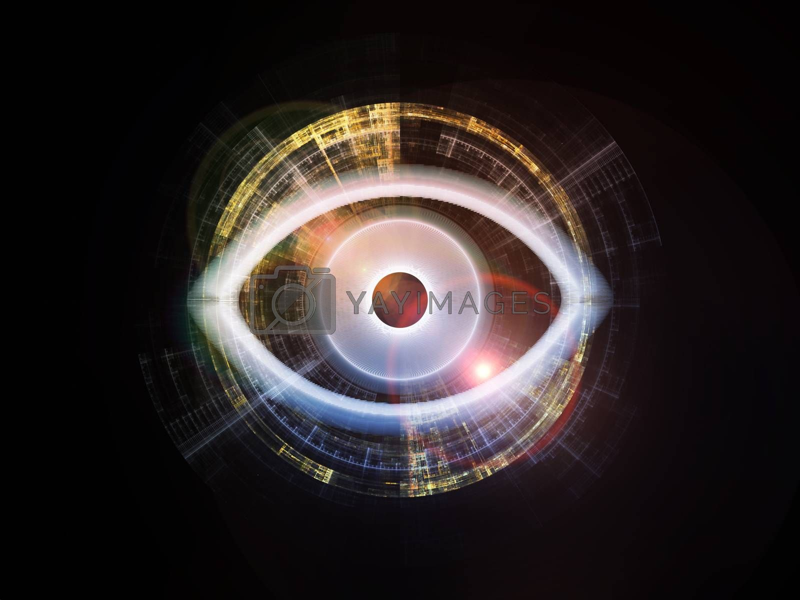 Eye Particle series. Composition of eye shape and fractal elements on the subject of spirituality, art and  technology