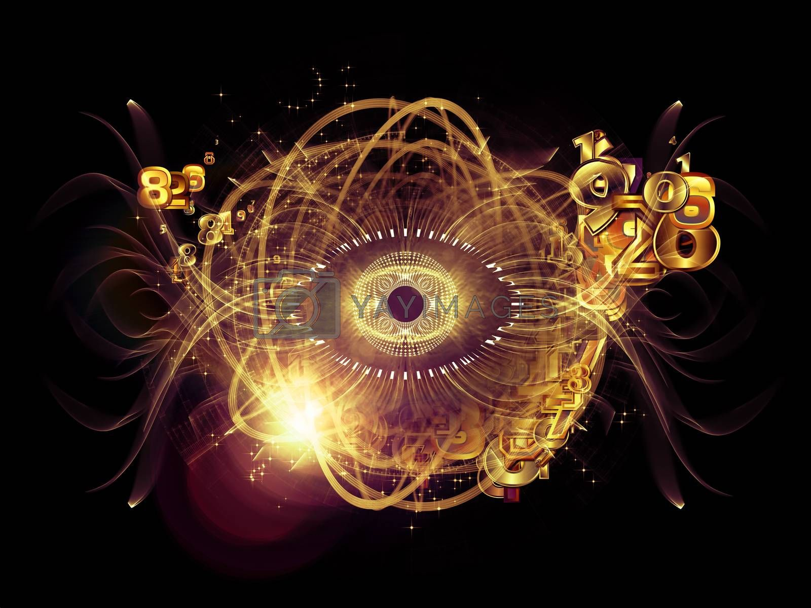 Eye Particle series. Design composed of eye shape, numbers and fractal elements as a metaphor on the subject of spirituality, science and  technology
