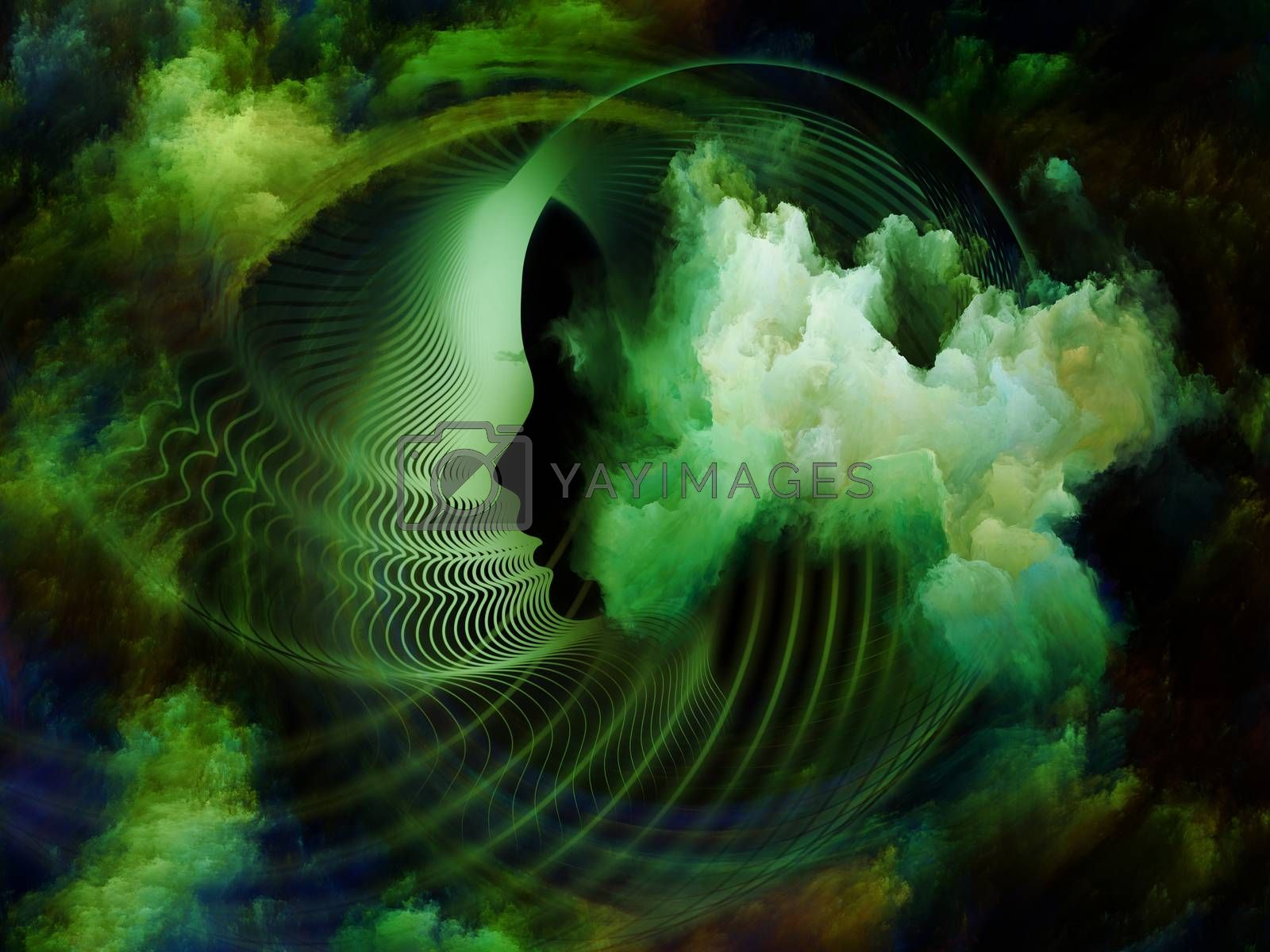 Internal Recurrence series. Abstract design made of human profile and fractal forms on the subject of inner reality, mental health, imagination, thinking and dreaming