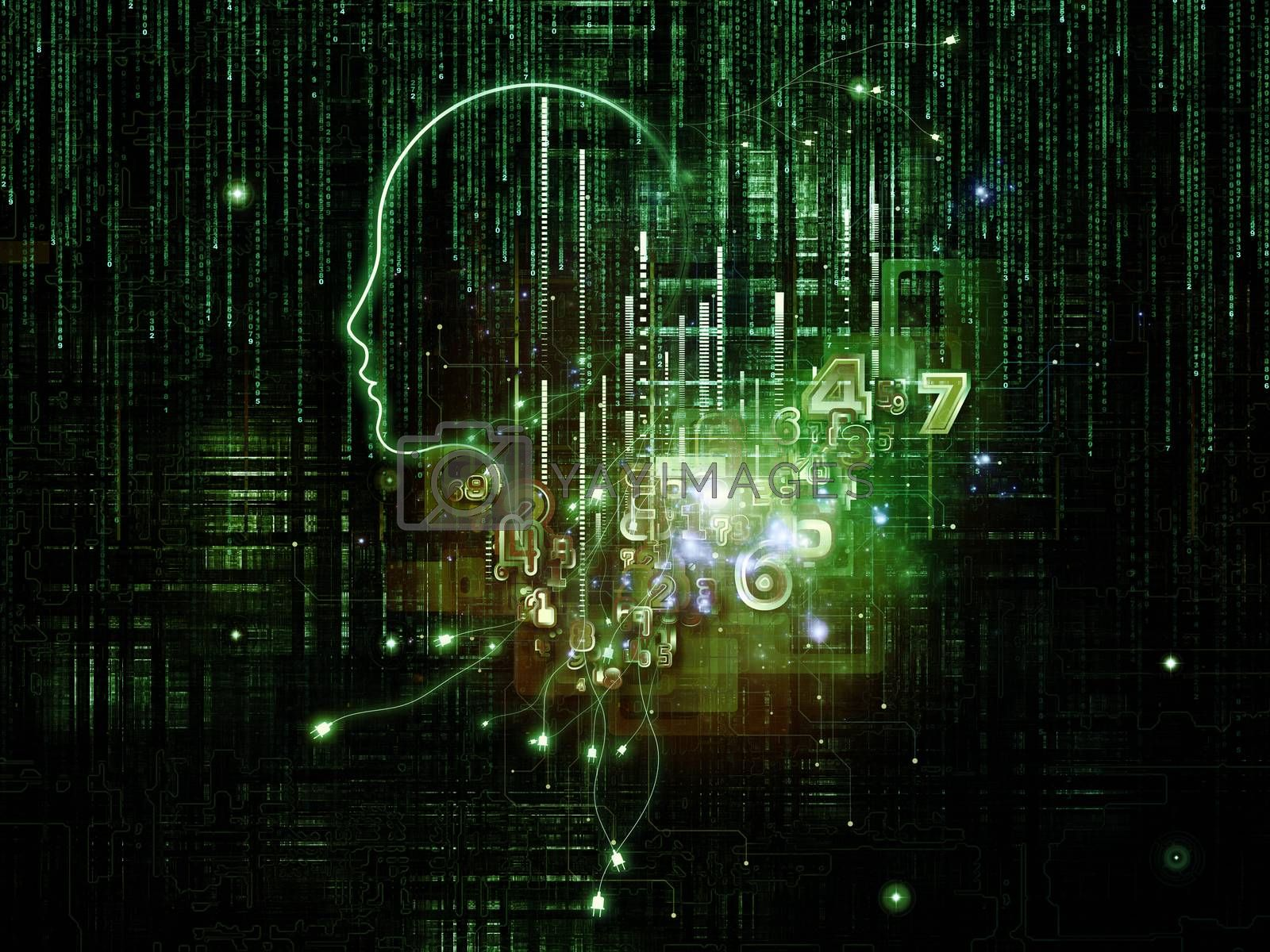 Artificial Intelligence series. Interplay of human profile and numbers on the subject of thinking, logic, computers and future technology