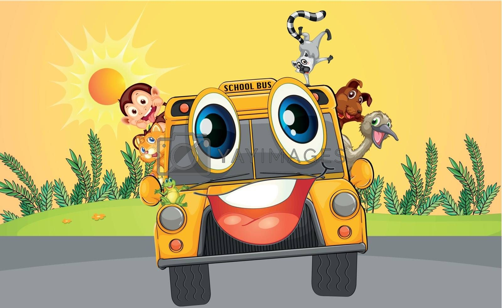 Illustration of a school bus with animals
