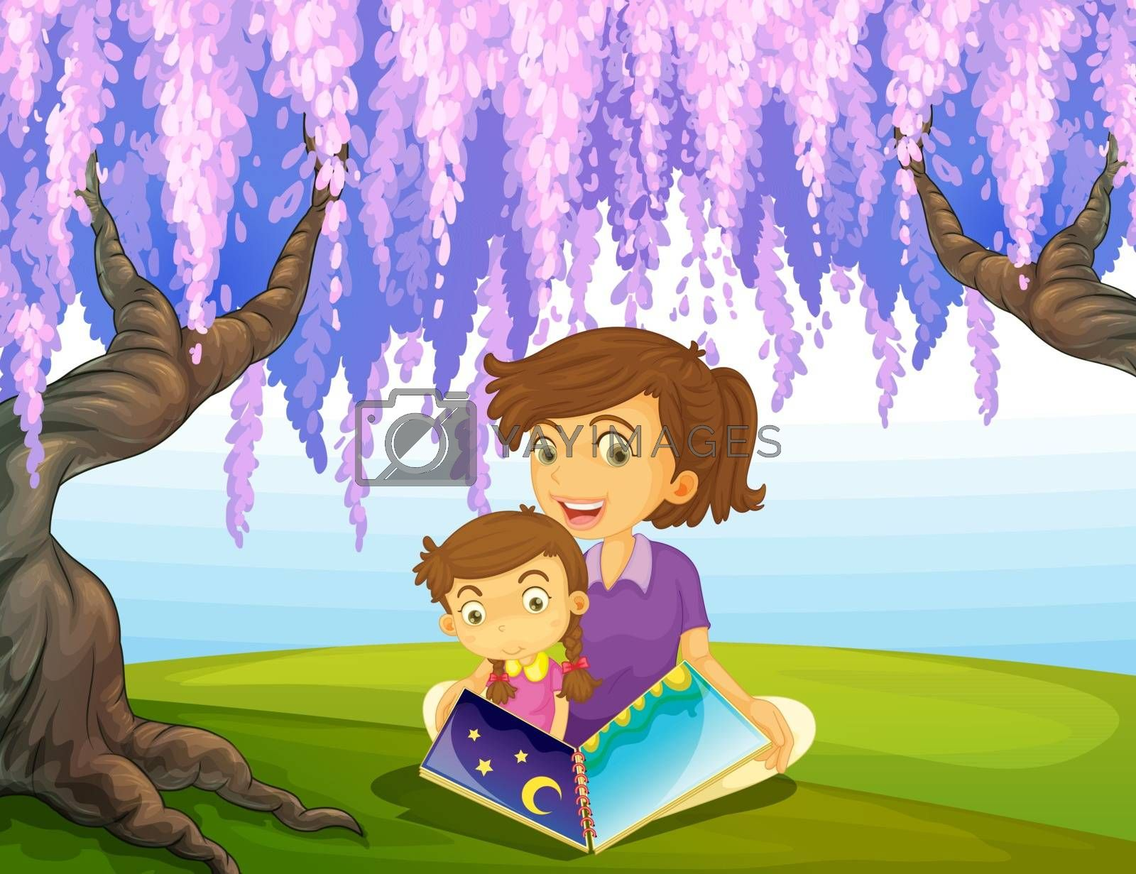 Illustration of a mother and a son sitting in a park