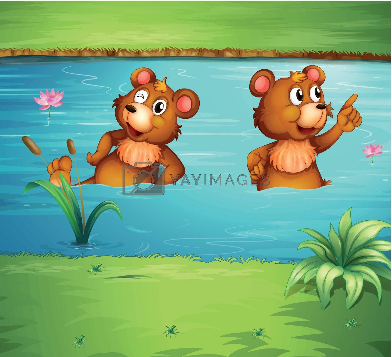Illustration of two animals in the pond