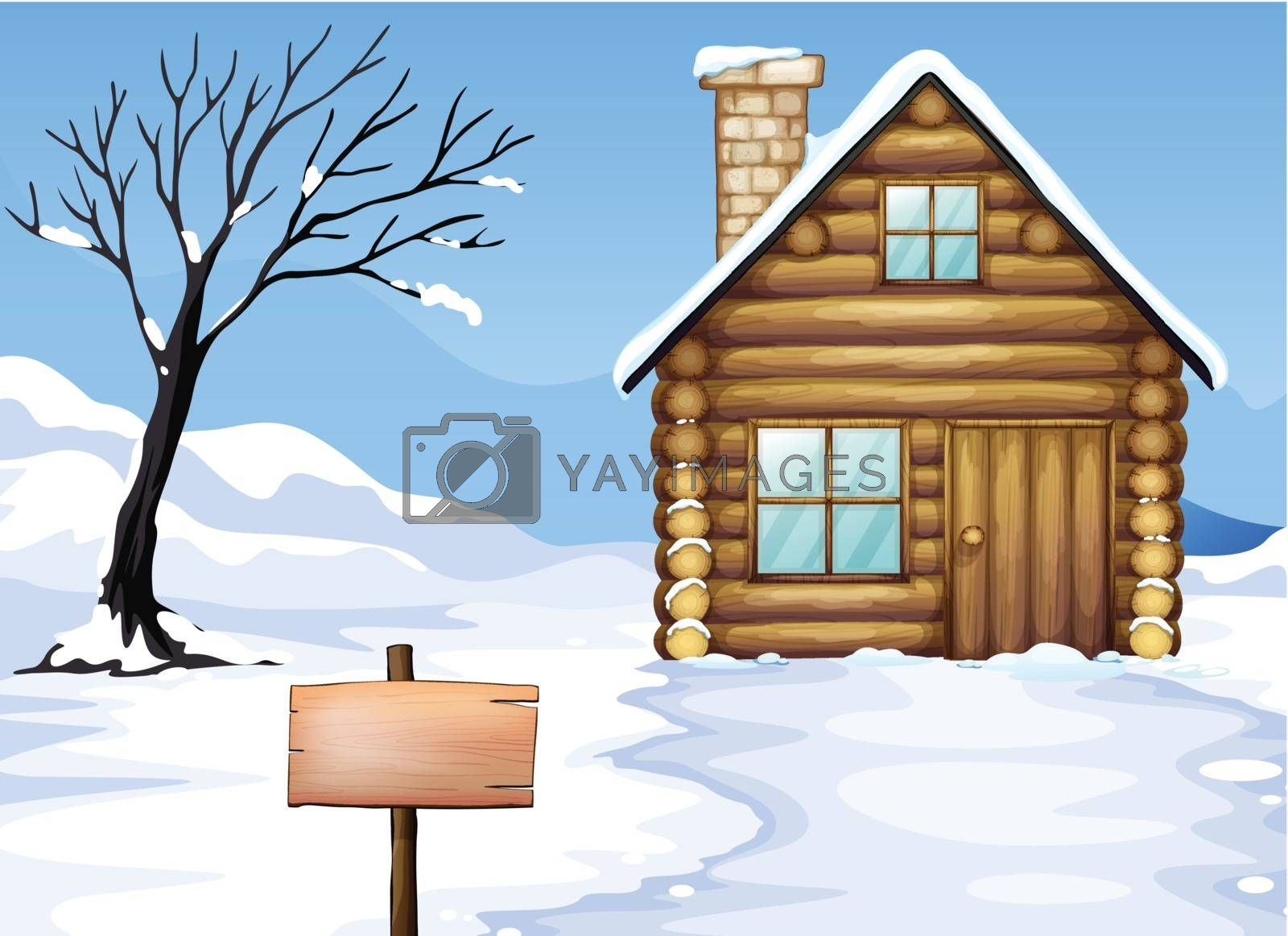 Illustration of an empty signboard, a house and a dying tree