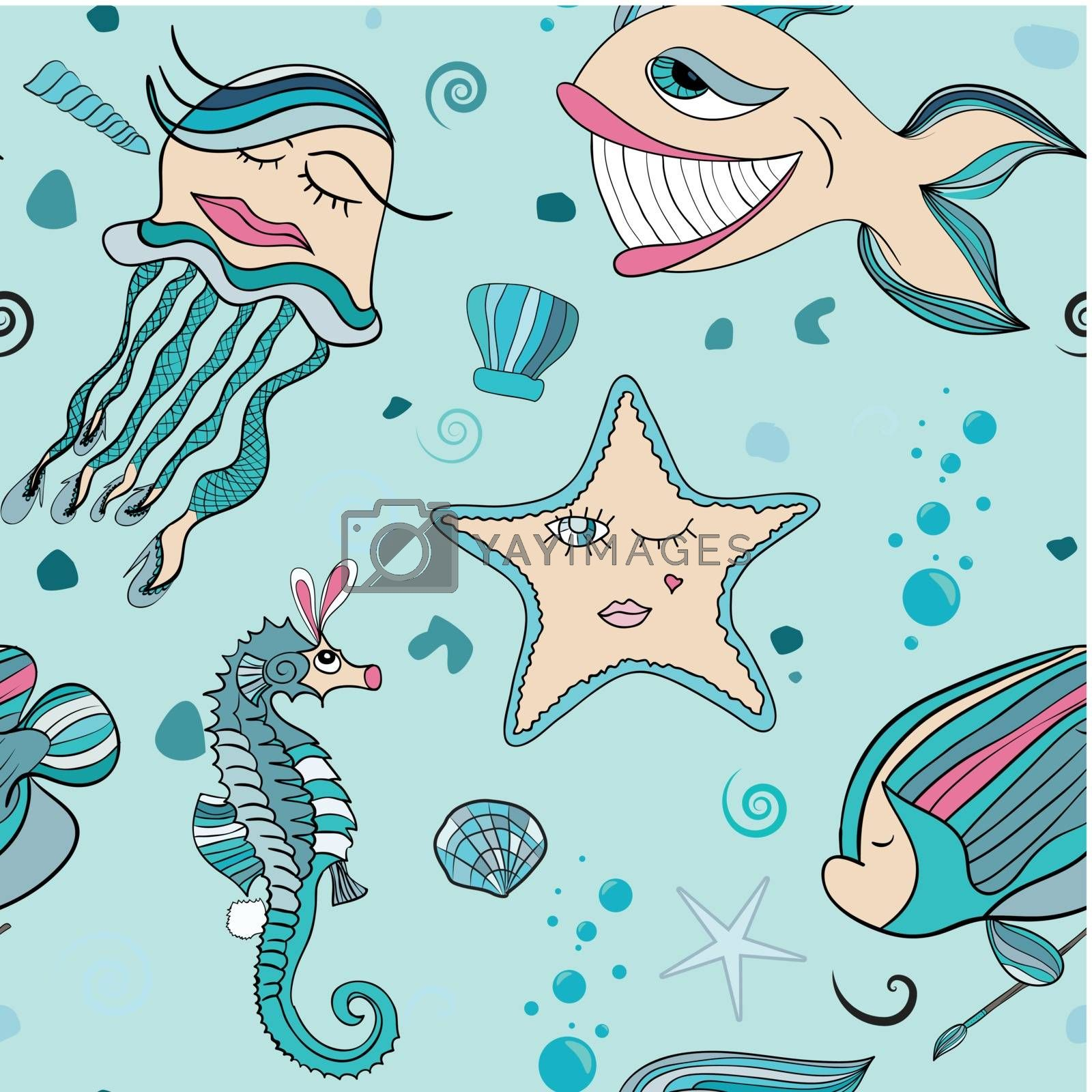 seamless texture with abstract fish and underwater sea world. jellyfish in stockings