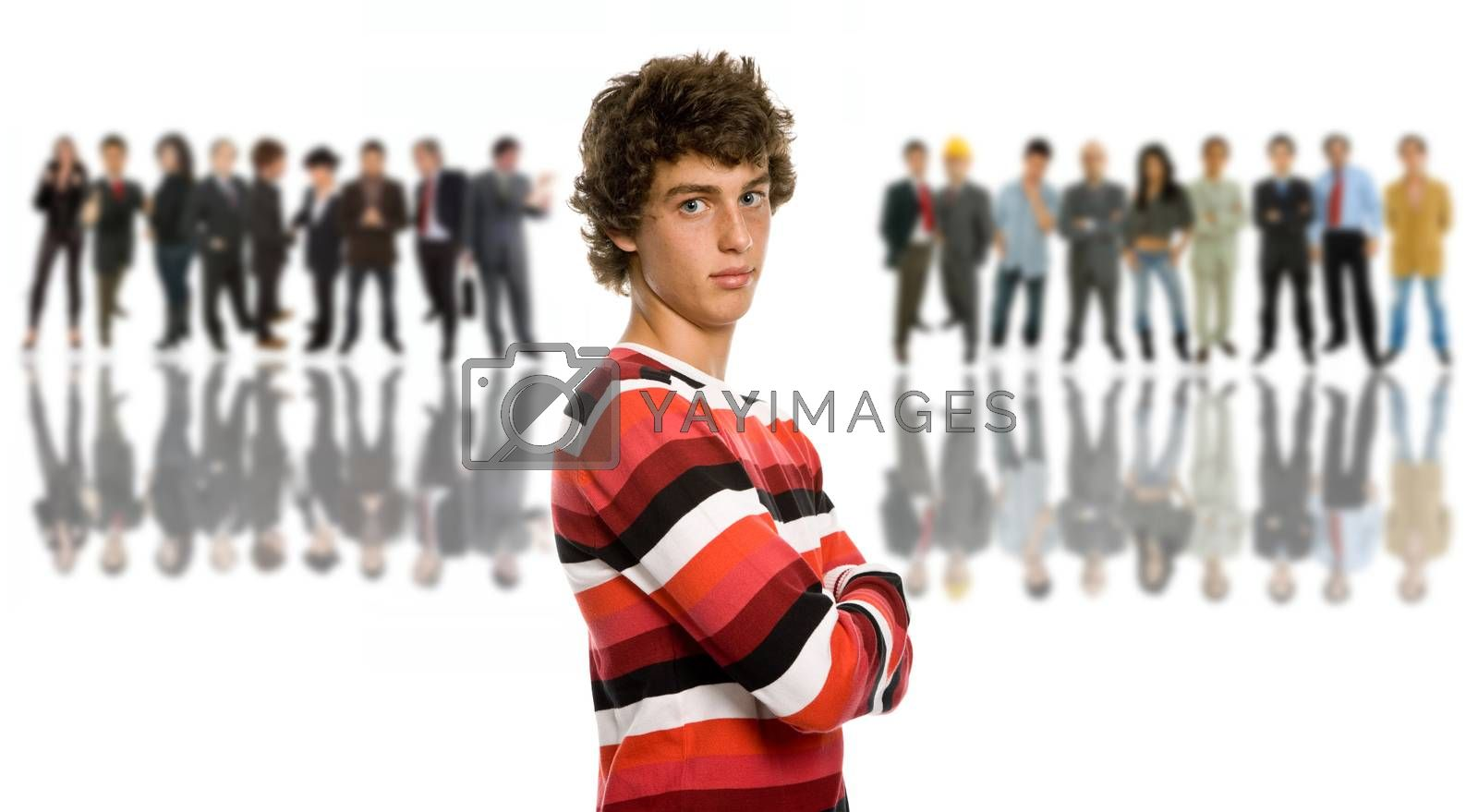 an young man in front of a group of people, isolated