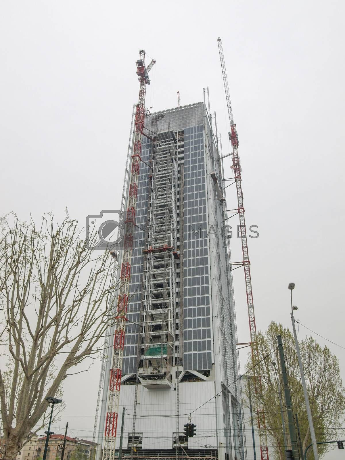 TURIN, ITALY - APRIL 03, 2014: The new San Paolo skyscraper designed by Renzo Piano is the highest building in town