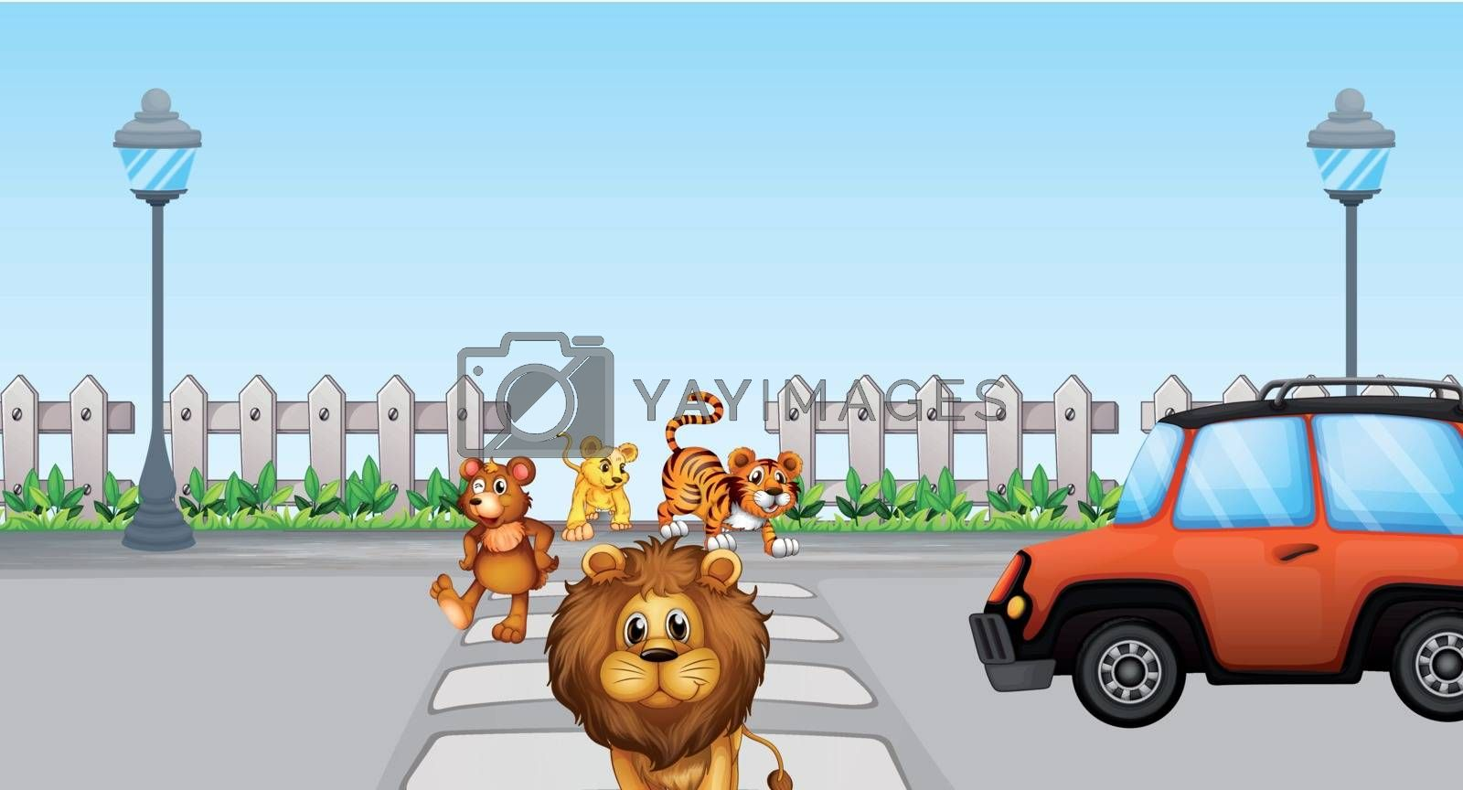 Illustration of wild animals crossing and a car in the road