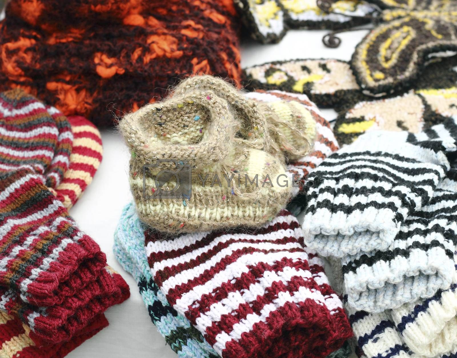 preparing for winter, hand knitted baby booties