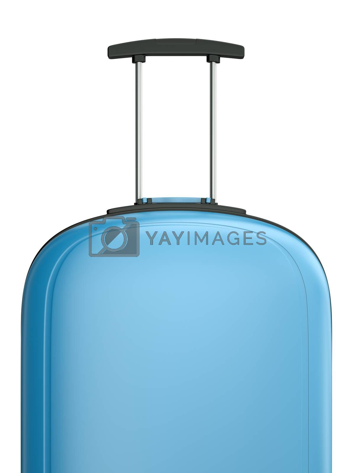 Blue travel suitcase with handle. 3D rendered illustration.