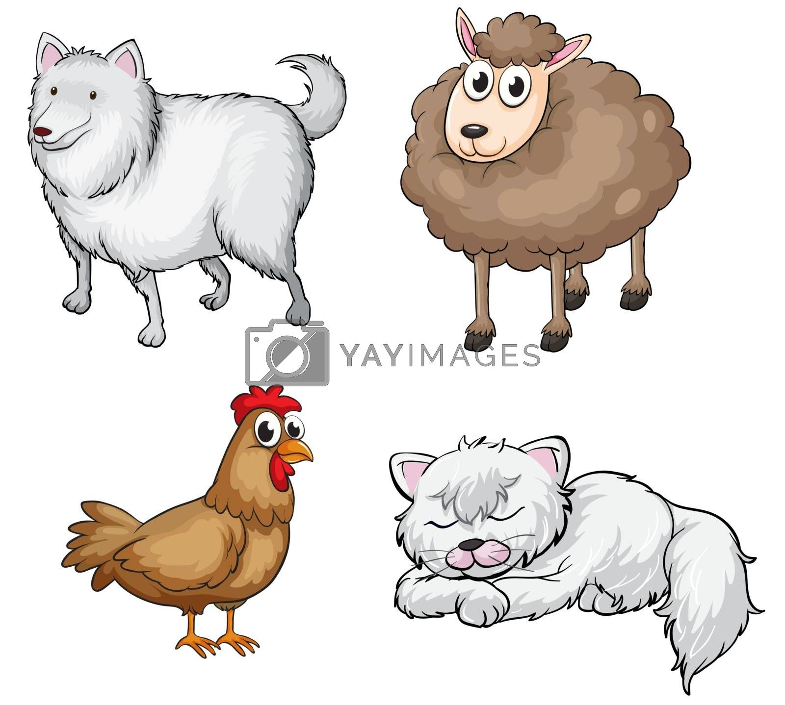 Illustration of land animals on a white background