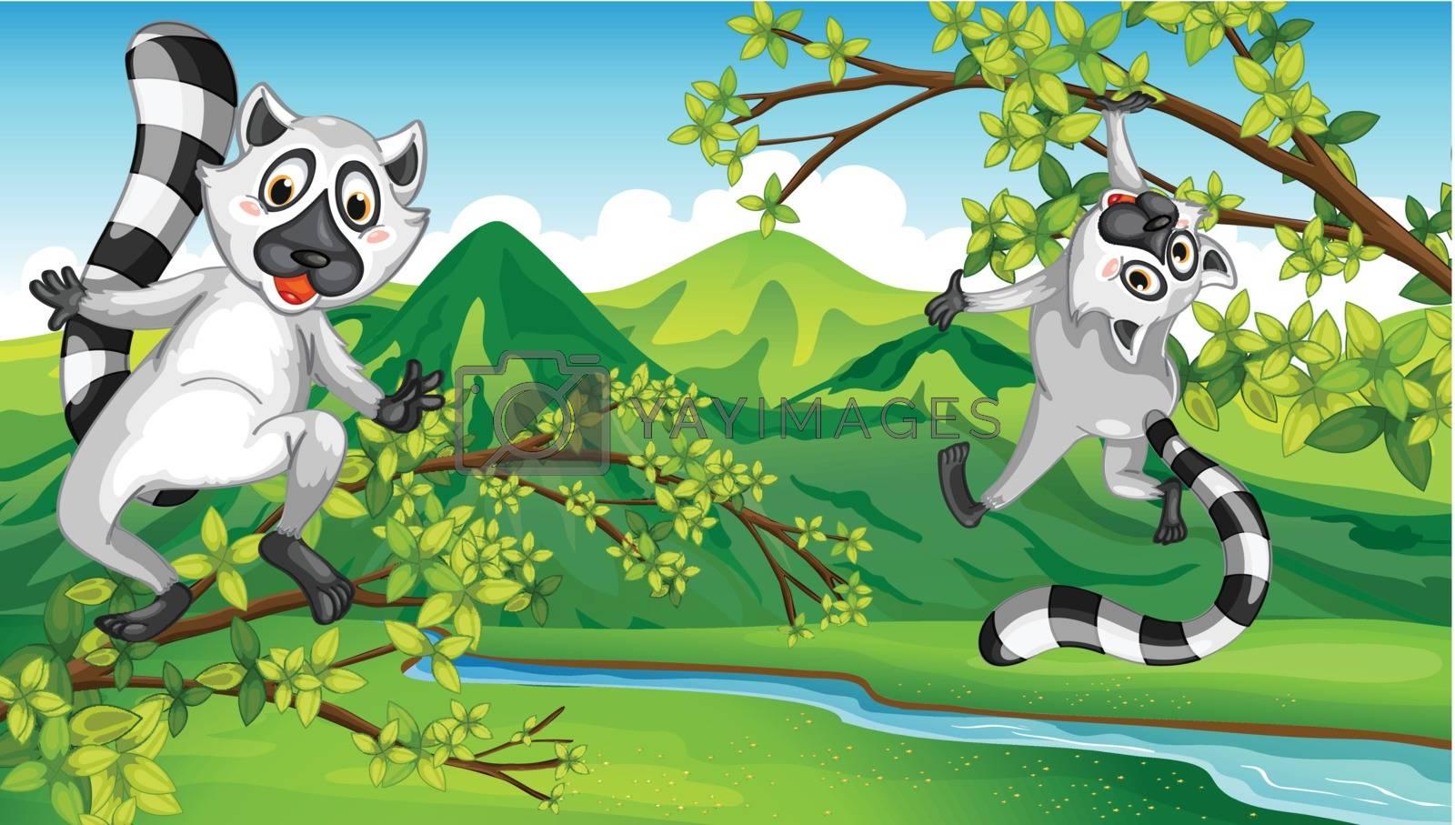 Illustration of two animals having fun
