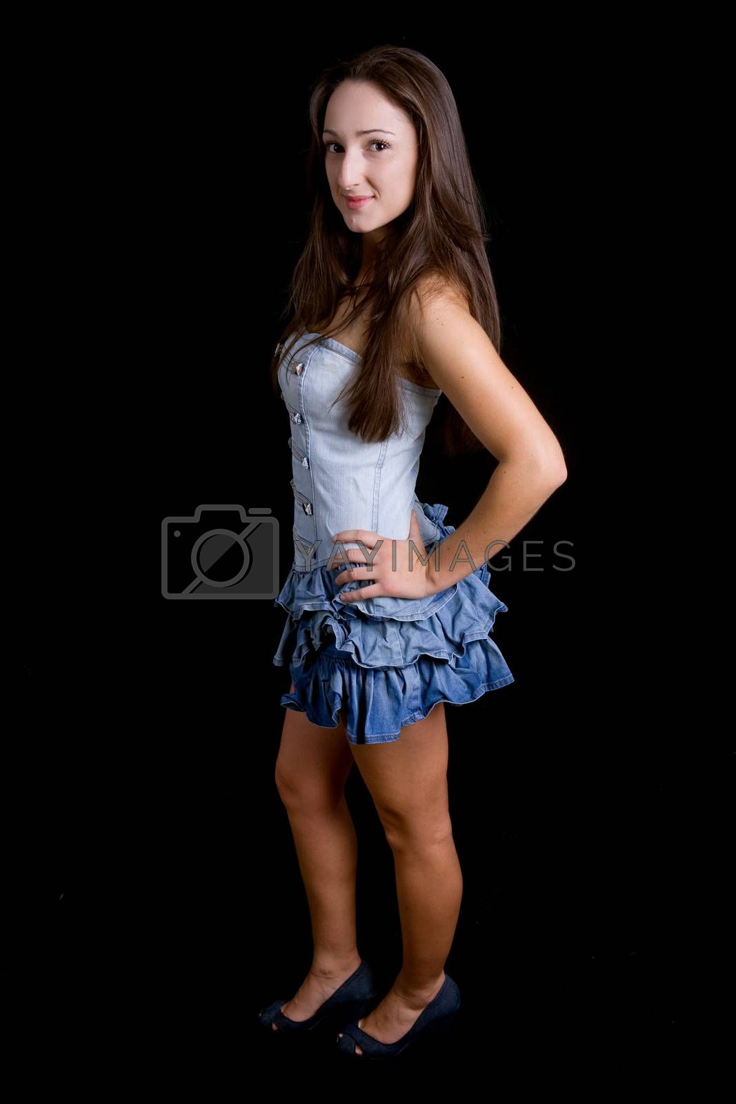 young beautiful woman full body on a black background