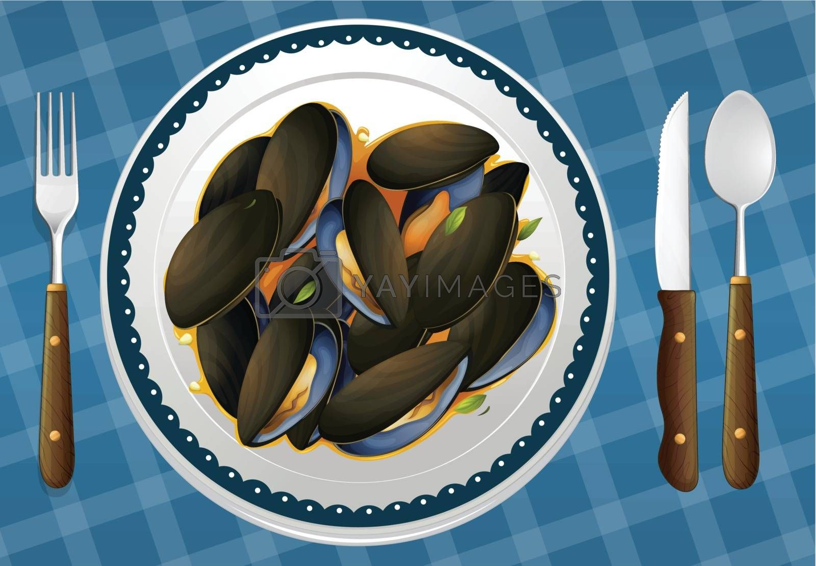 illustration of food and a dish on a blue background