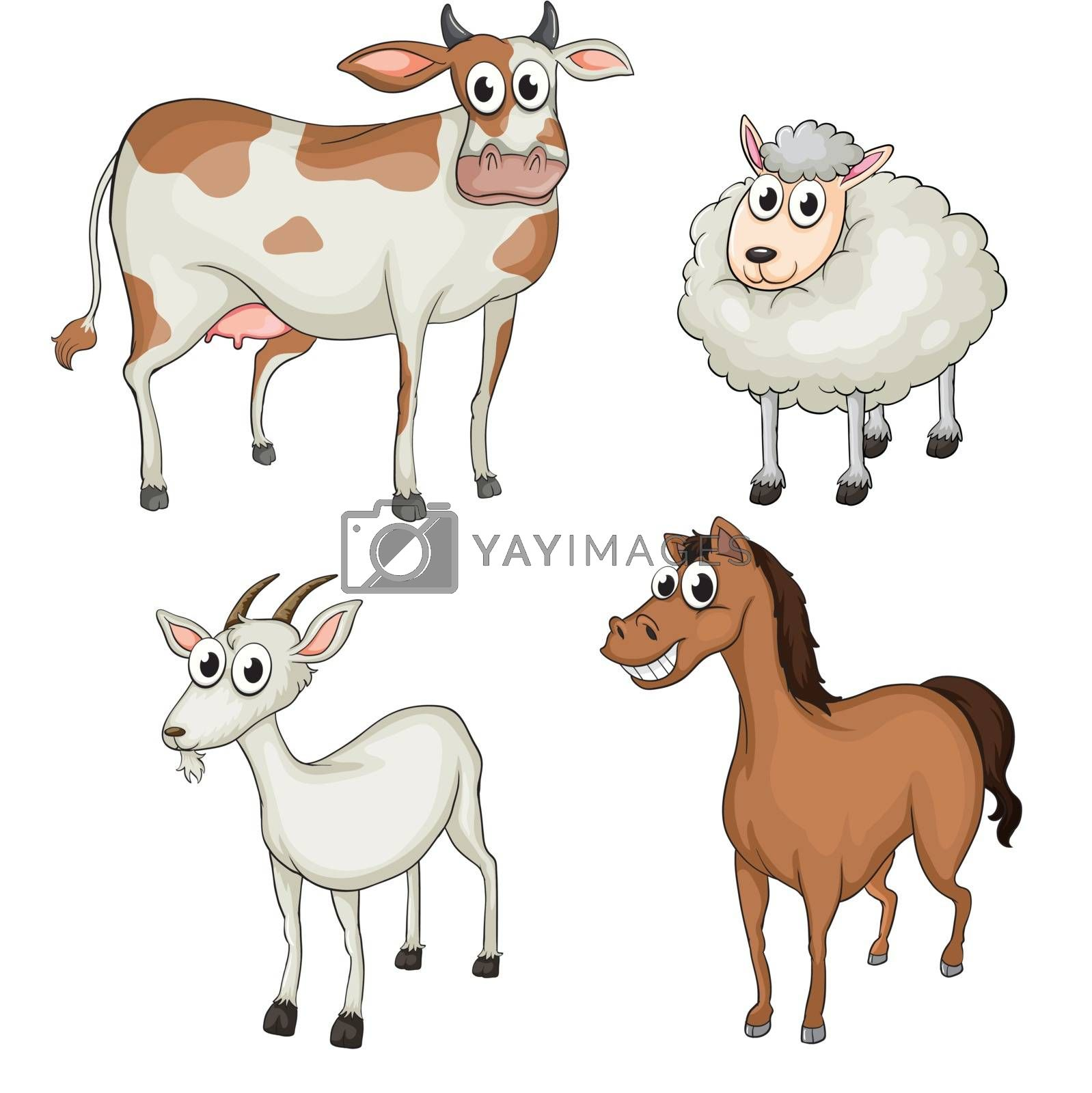 Illustration of farm animals on a white background