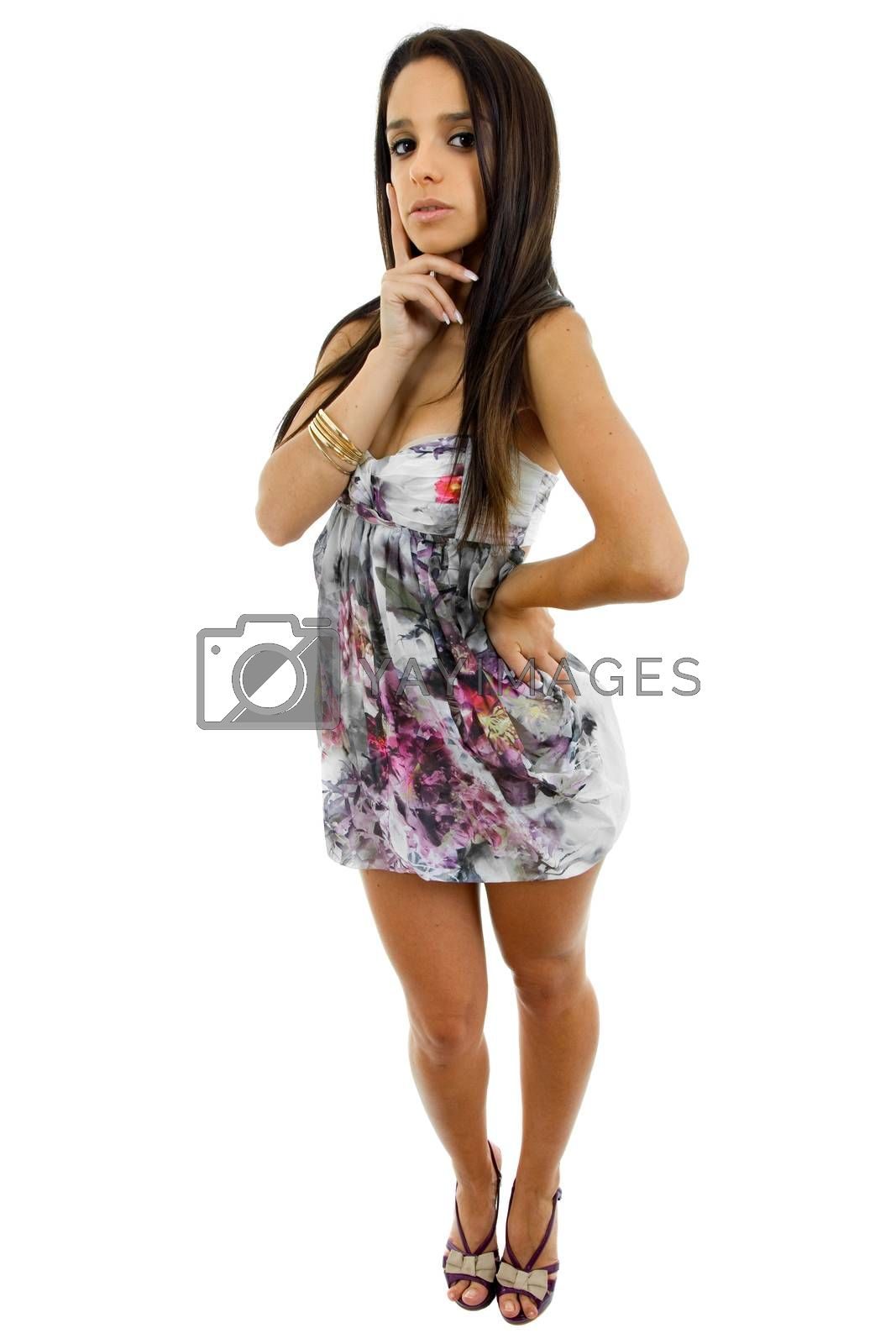 young beautiful woman full body, isolated on white