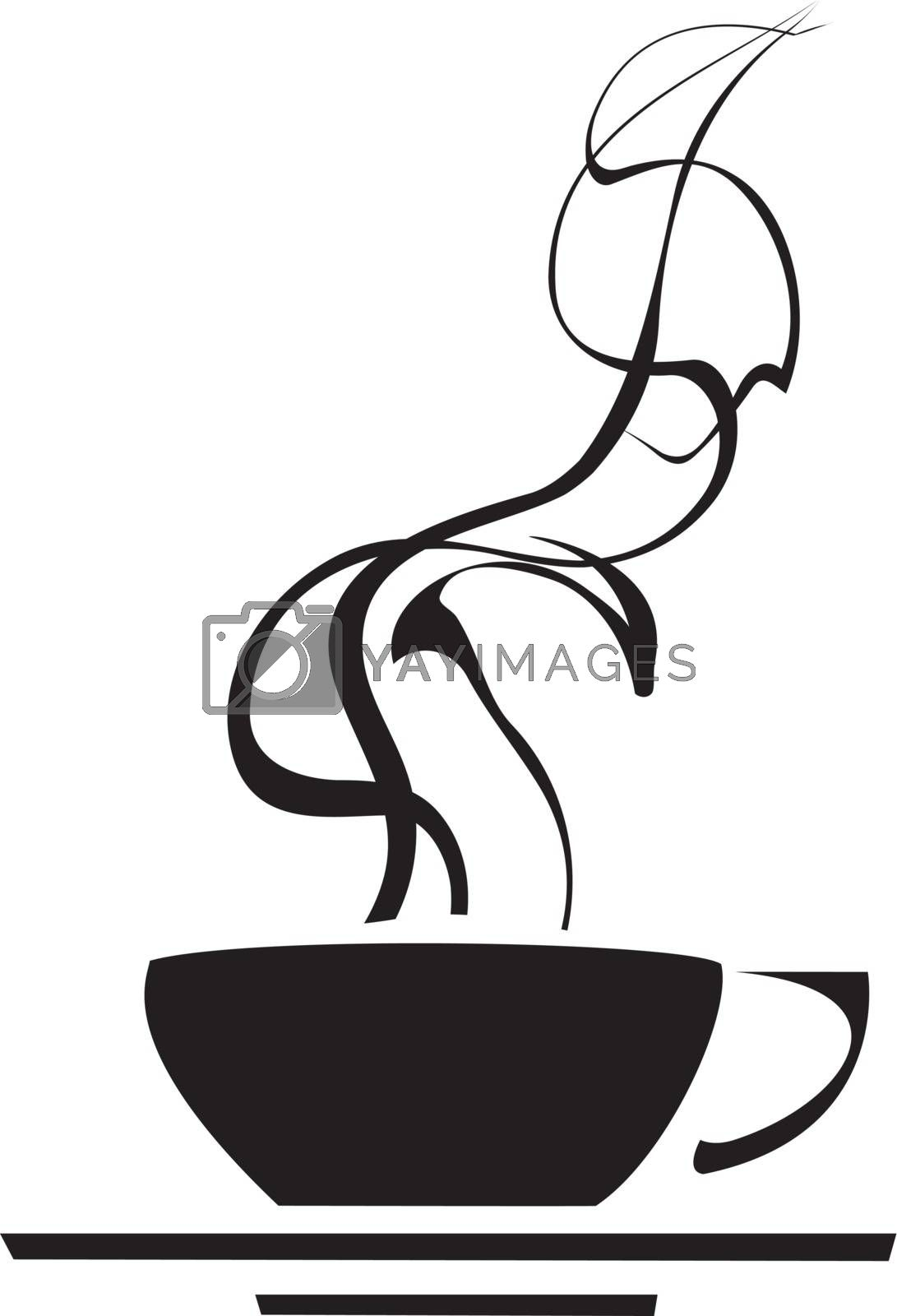 Black and white retro image of a steaming coffee cup.