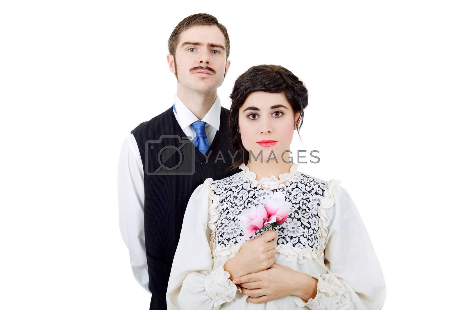 vintage couple in there wedding, isolated on white