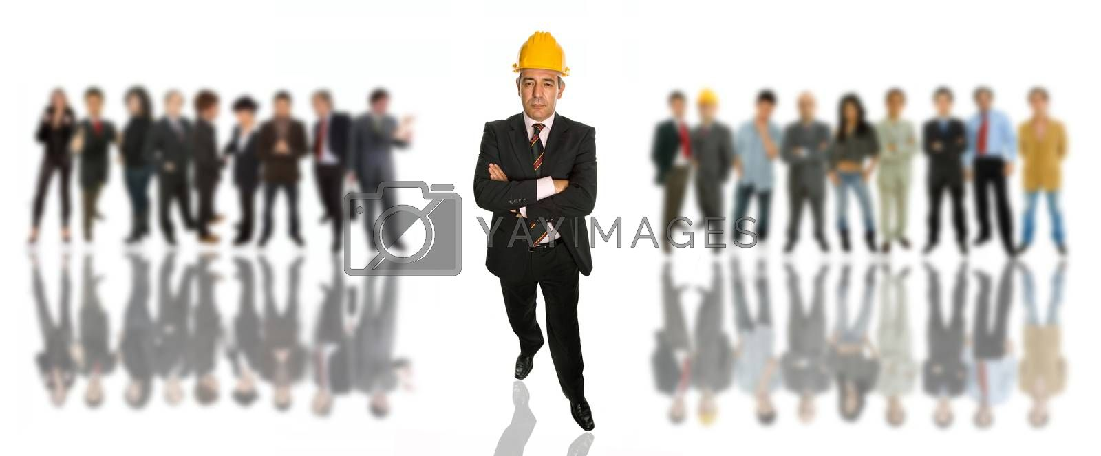 mature business man in front of a group of people