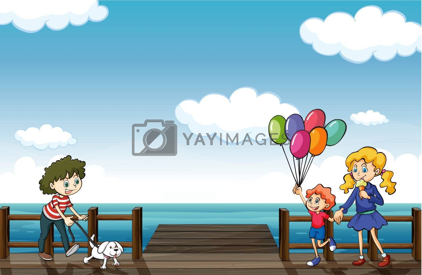 Illustration of happy people strolling in the seaside