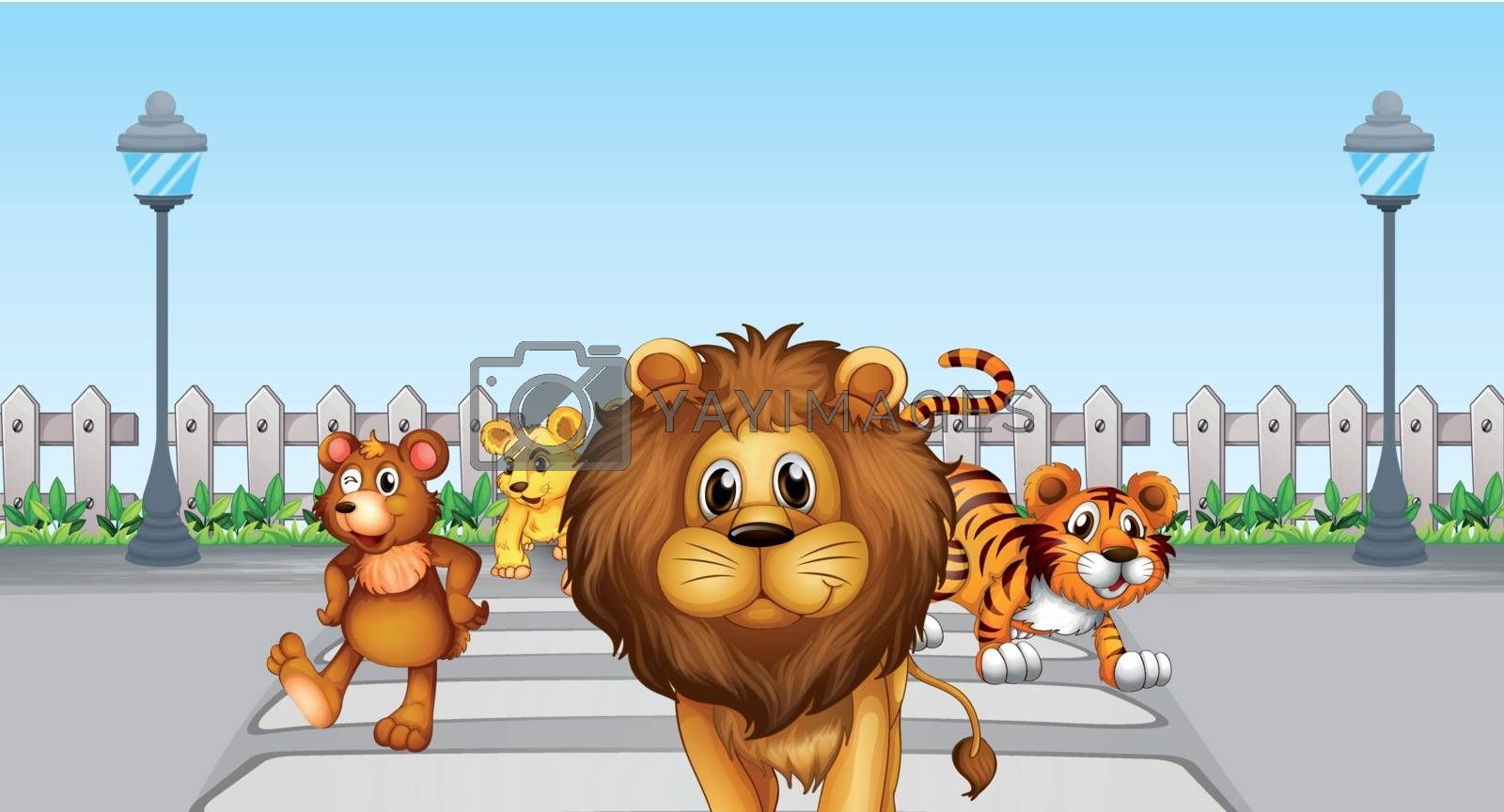 Illustration of wild animals in the road
