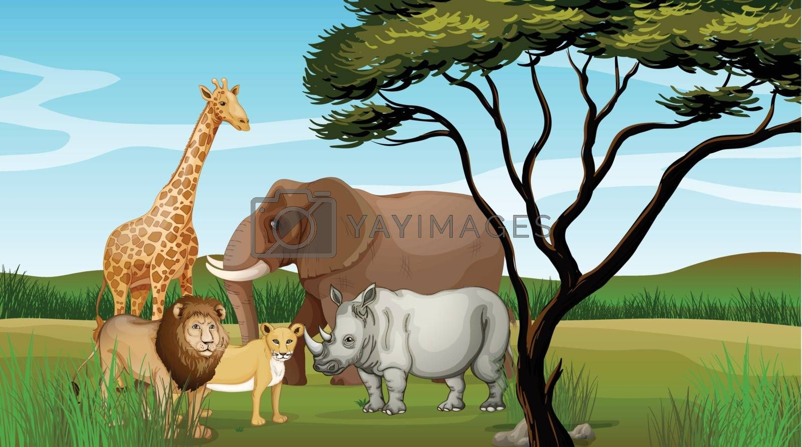 Illustration of scary animals in the jungle