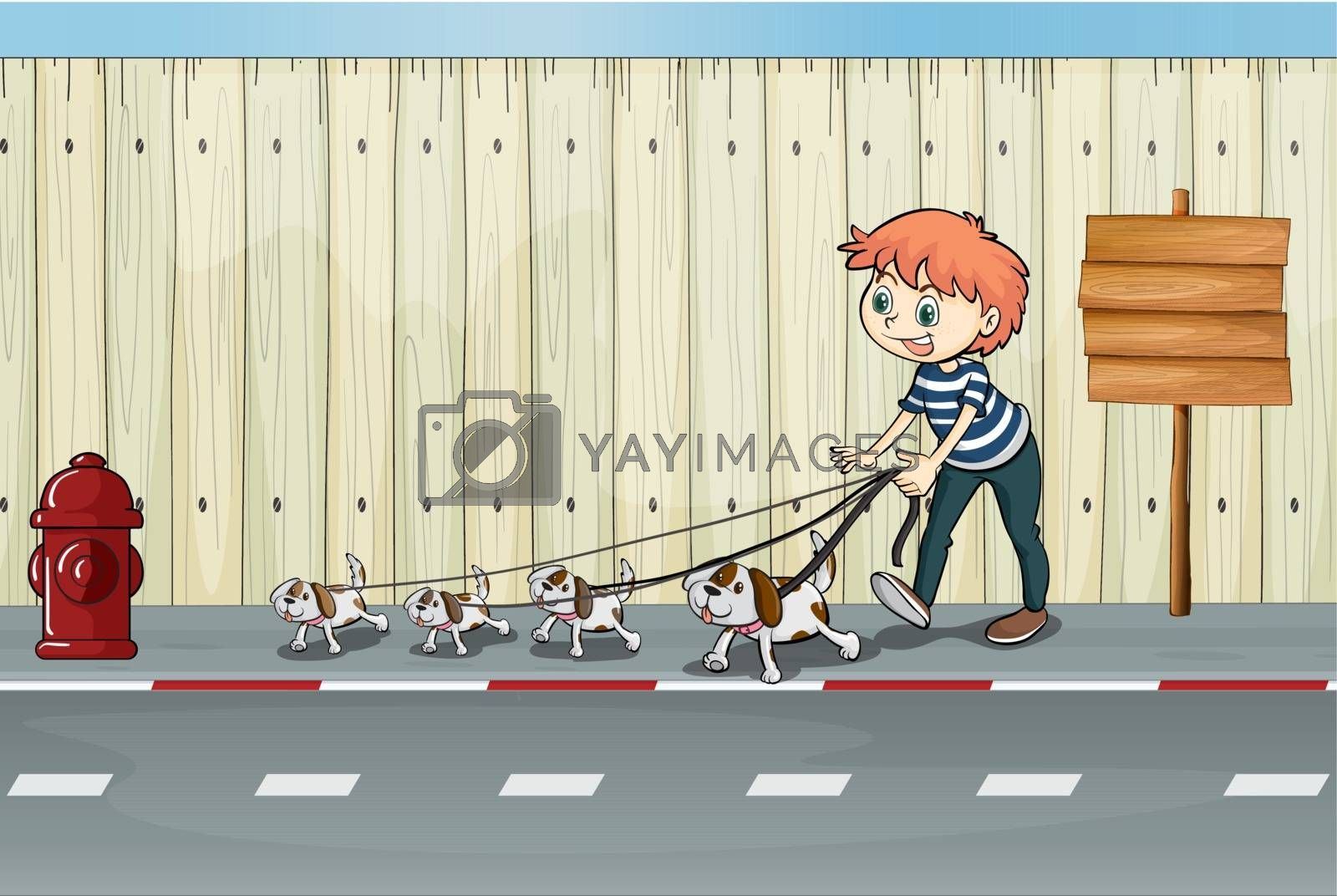 Illustration of a boy with his pets