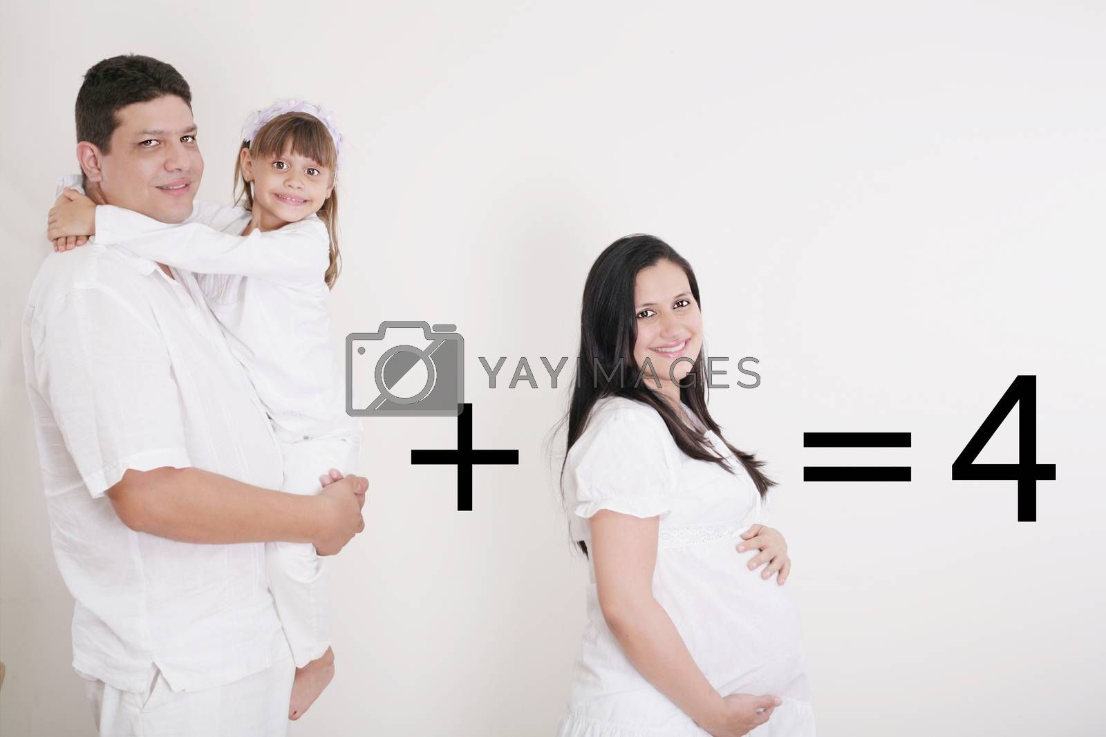 Royalty free image of Happy Family: Pregnant mother with father and little girl by dacasdo
