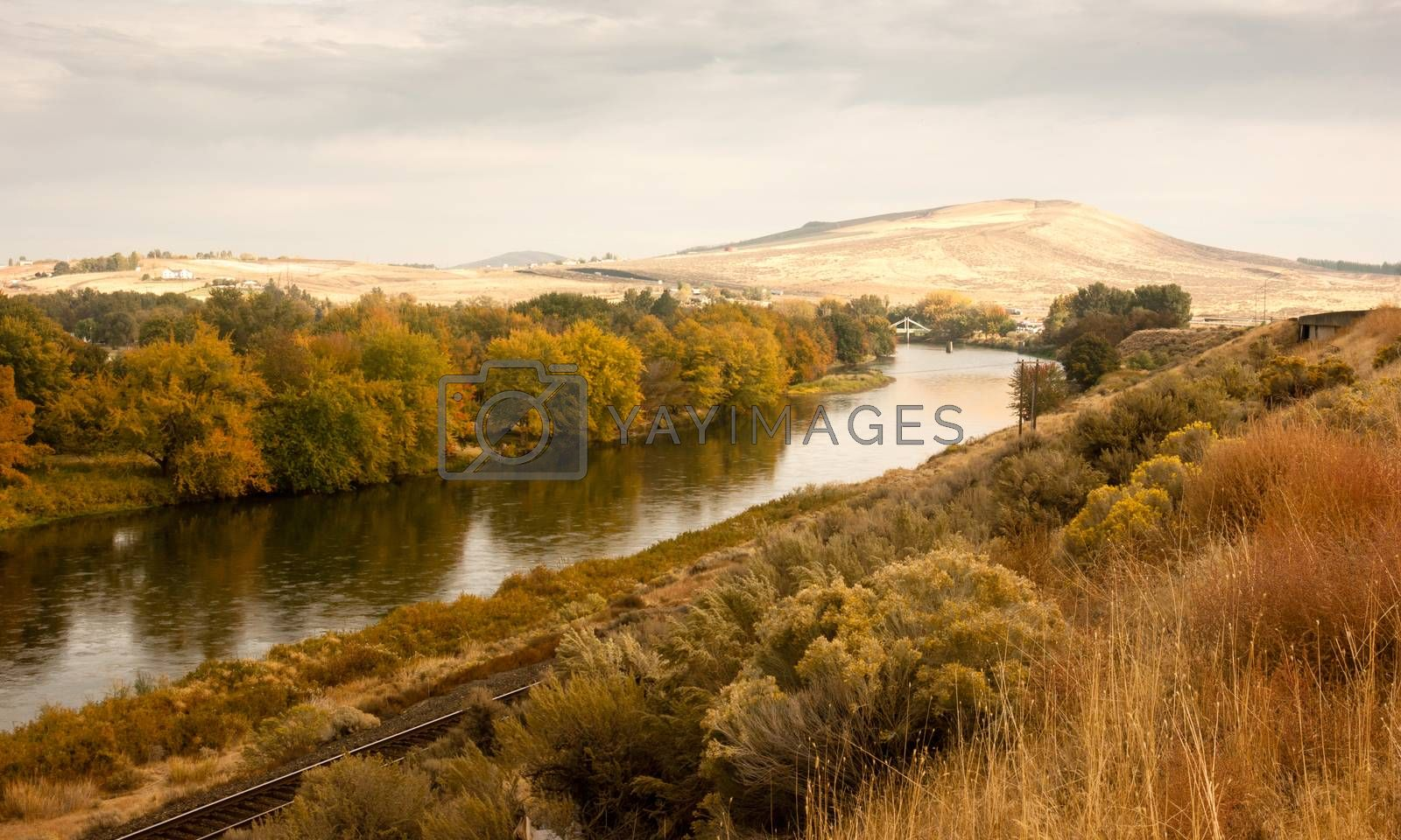 Royalty free image of Storm Clearing Over Agricultural Land Yakima River Central Washington by ChrisBoswell