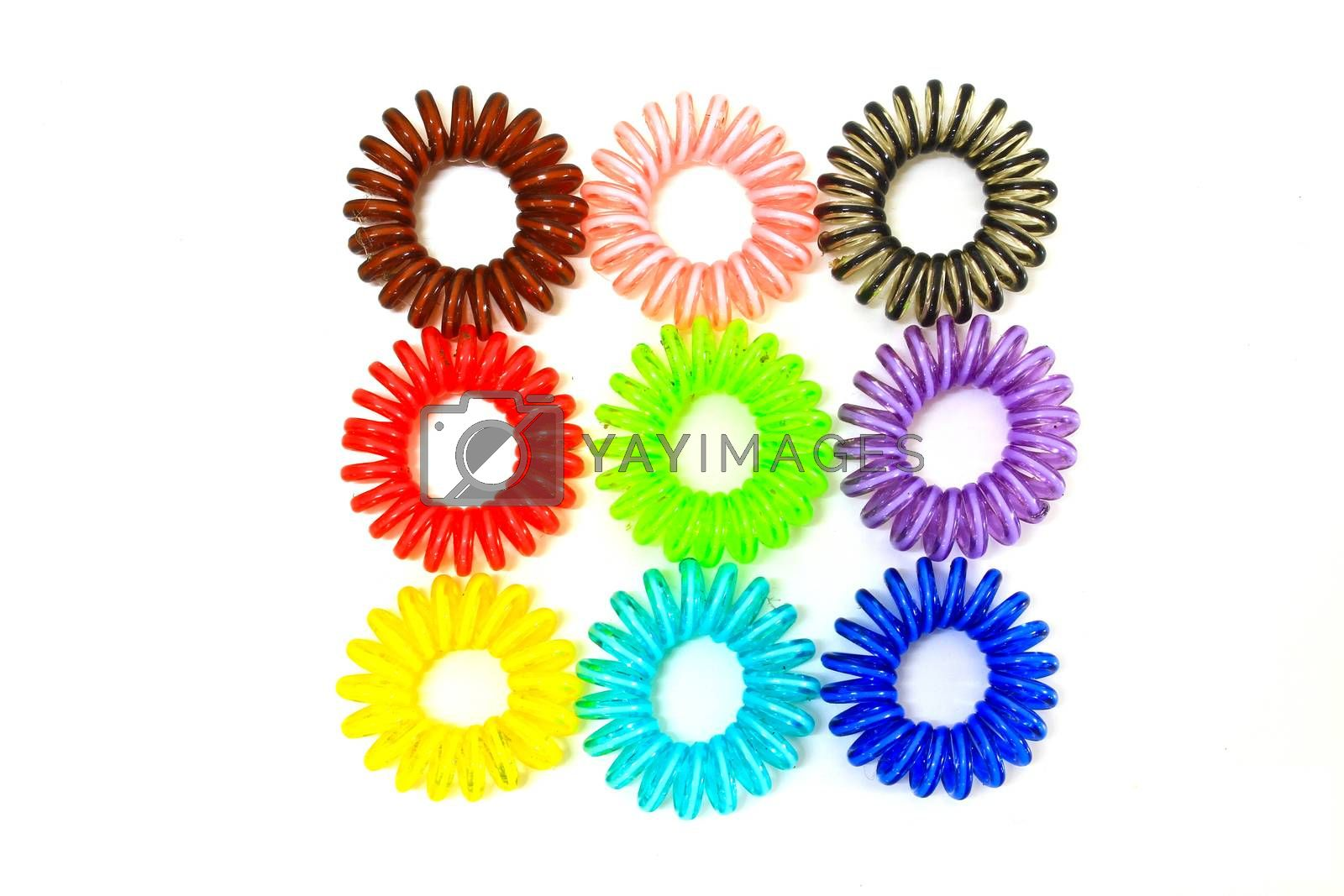 Royalty free image of Colorful Spiral Elastic Hair Ties by forest71