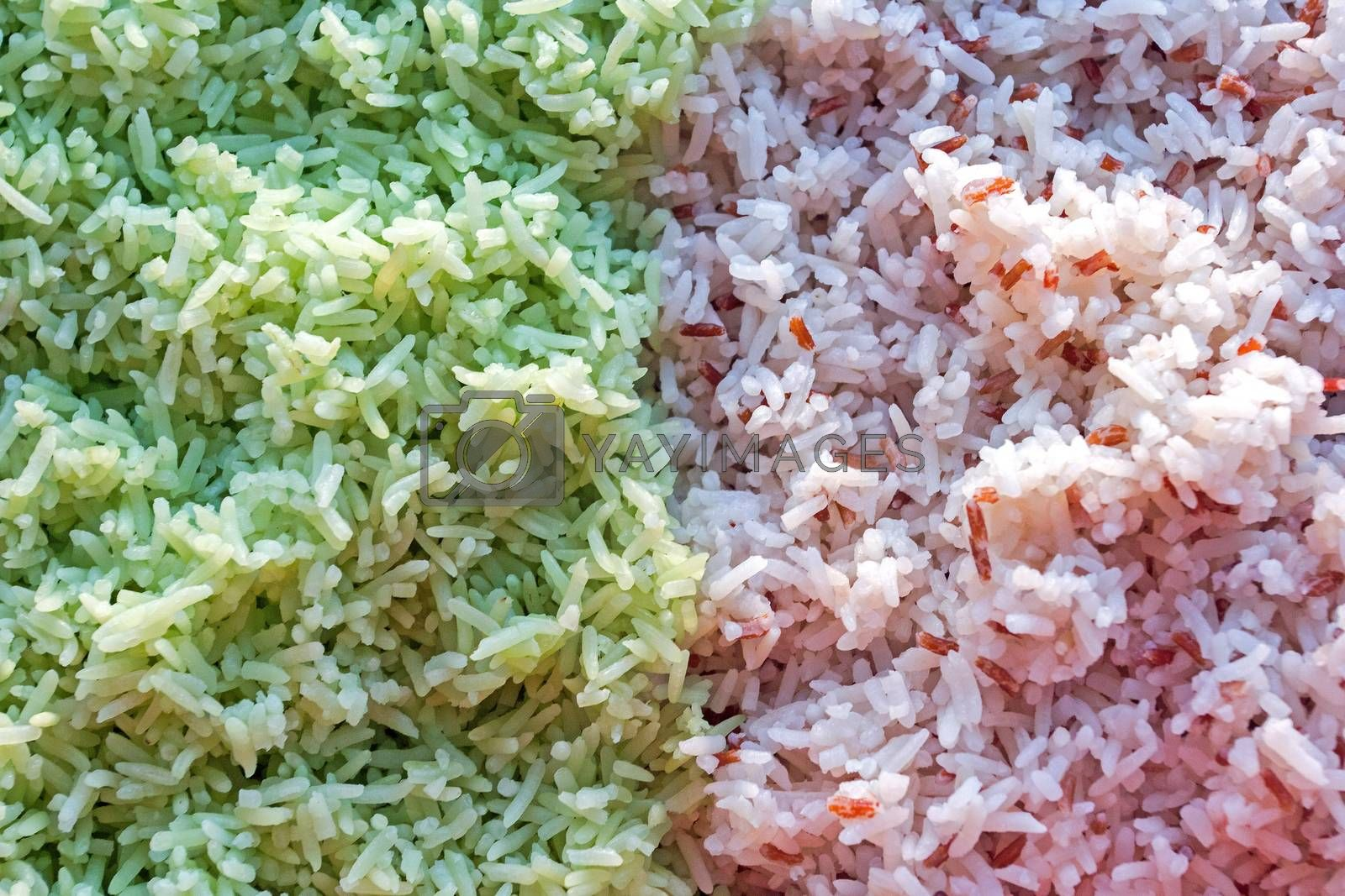 Two colored rice for Thai food, Southern style of  rice salad by kannapon