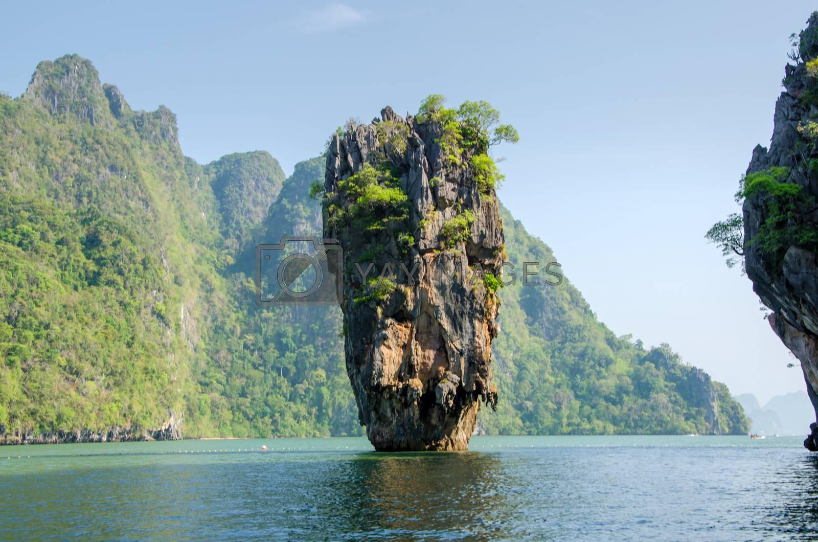 Royalty free image of Island in Phuket, Thailand . James Bond island geology rock form by siraanamwong