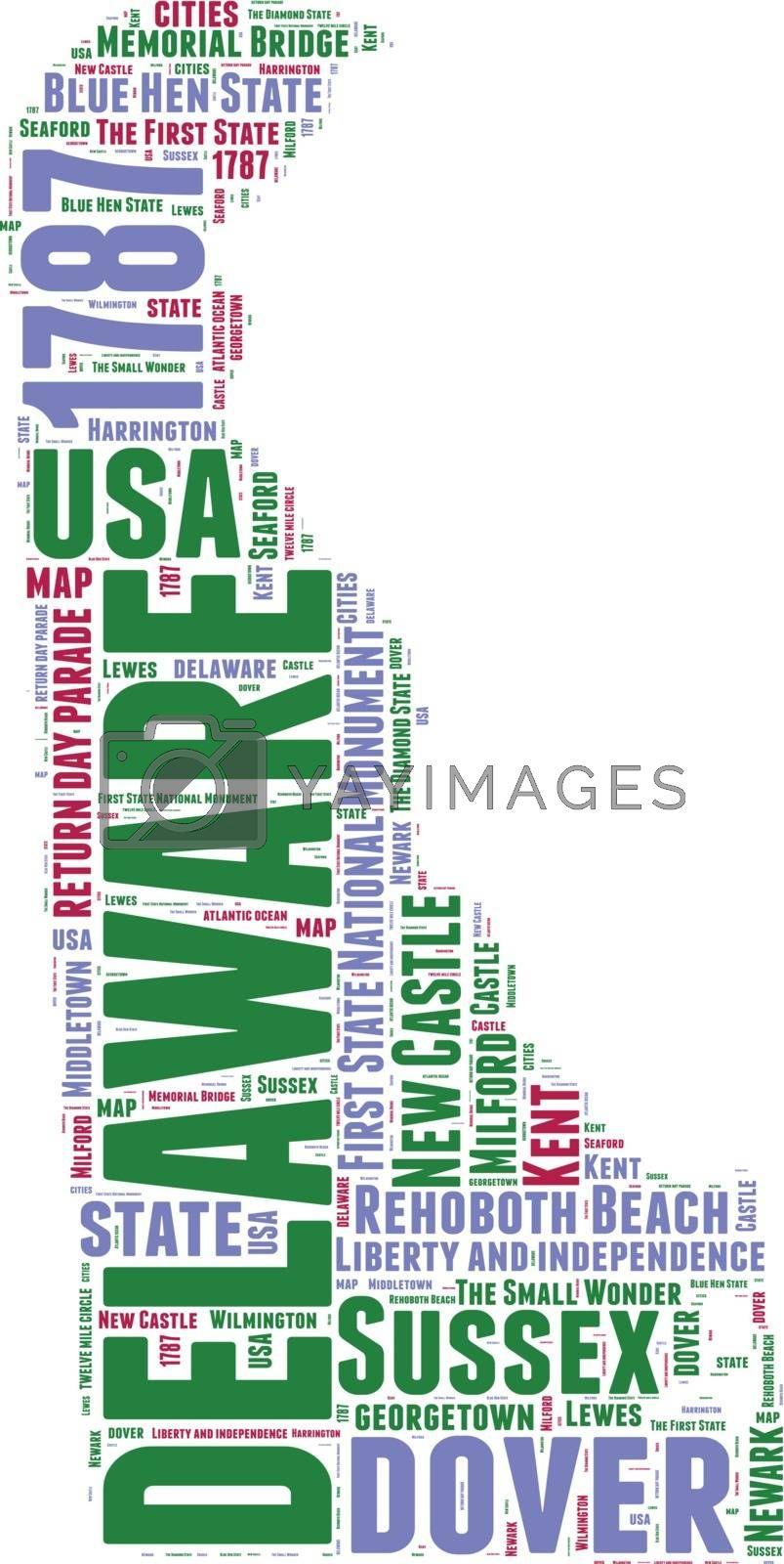 Royalty free image of Delaware USA state map vector tag cloud illustration by lifeinapixel