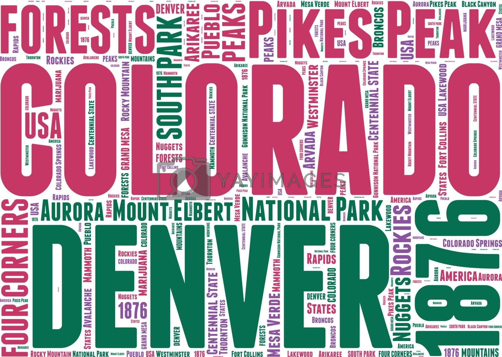 Royalty free image of Colorado USA state map vector tag cloud illustration by lifeinapixel