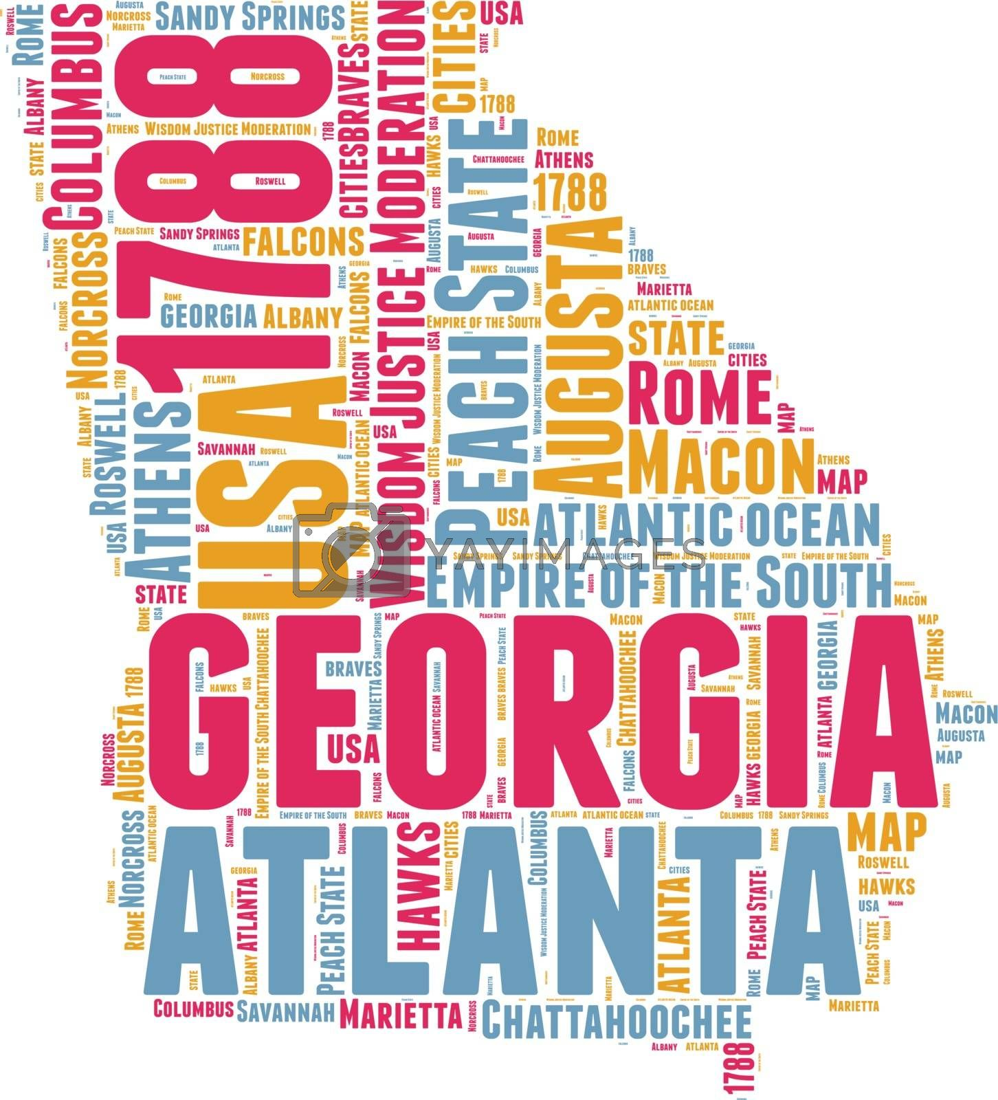 Royalty free image of Georgia USA state map vector tag cloud illustration by lifeinapixel