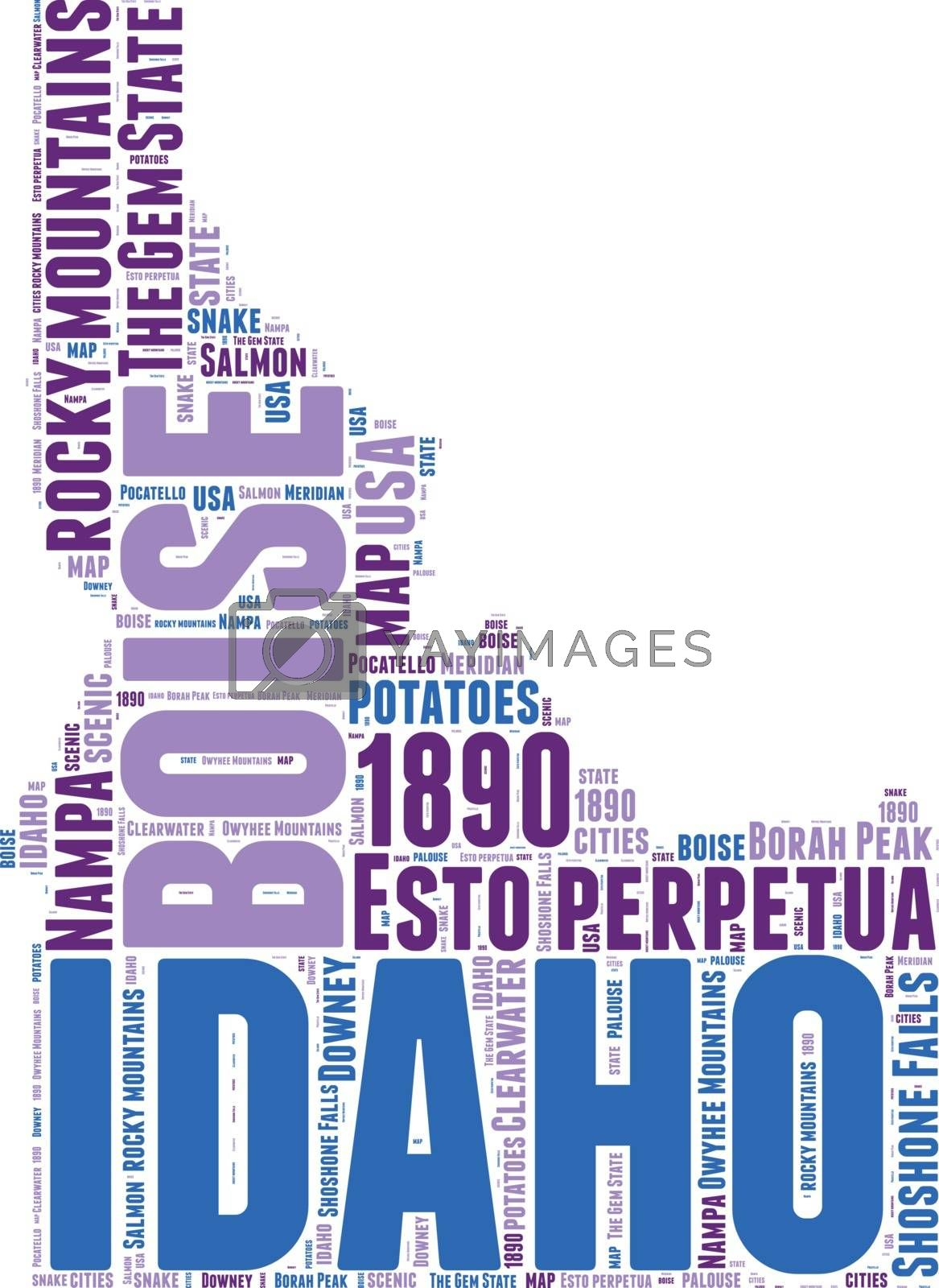 Royalty free image of Idaho USA state map vector tag cloud illustration by lifeinapixel