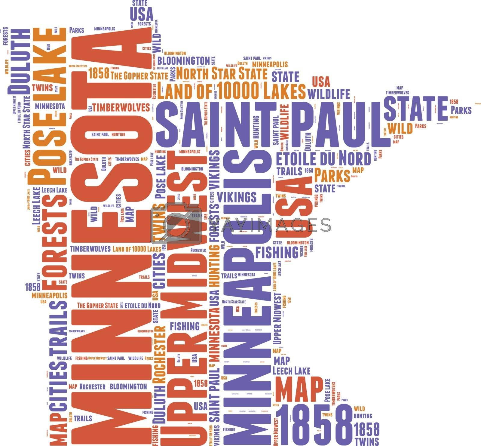 Royalty free image of Minnesota USA state map vector tag cloud illustration by lifeinapixel