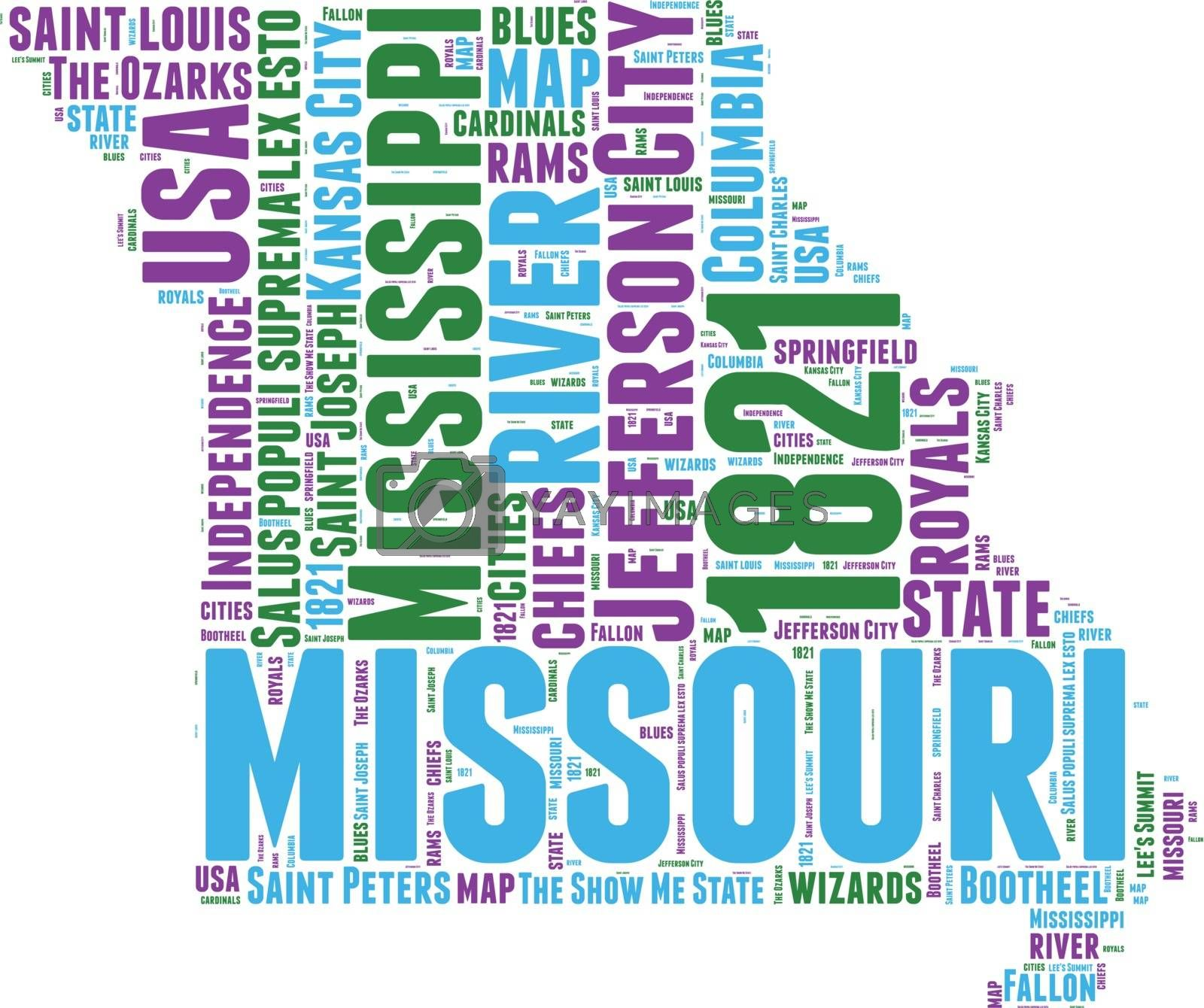 Royalty free image of Missouri USA state map vector tag cloud illustration by lifeinapixel
