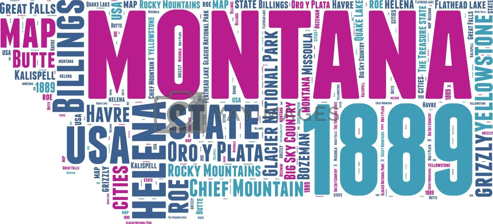 Royalty free image of Montana USA state map vector tag cloud illustration by lifeinapixel