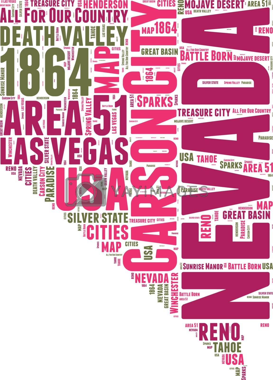 Royalty free image of Nevada USA state map vector tag cloud illustration by lifeinapixel