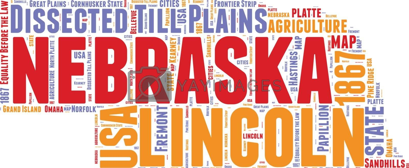 Royalty free image of Nebraska USA state map vector tag cloud illustration by lifeinapixel