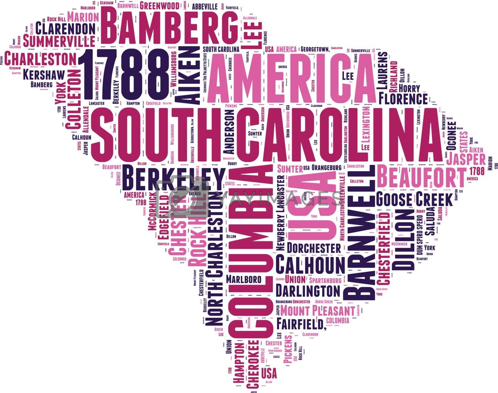 Royalty free image of South Carolina USA state map tag cloud vector illustration by lifeinapixel