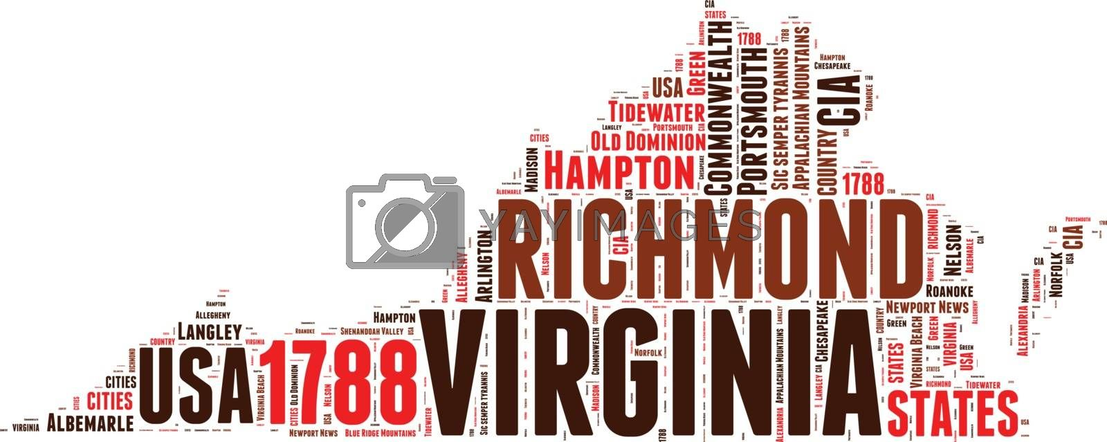 Royalty free image of Virginia USA state map vector tag cloud illustration by lifeinapixel