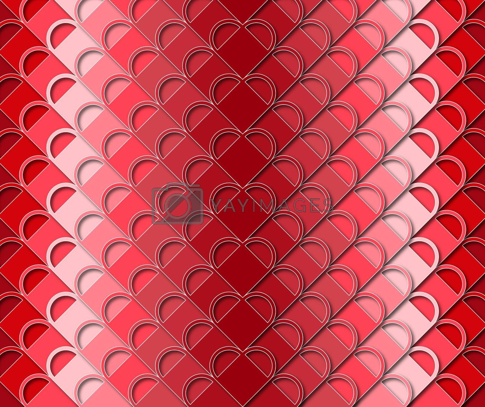 background or fabric the abstract red heart Valentine